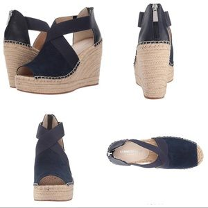 Kenneth Cole  Blue Wedge Espadrille SZ 10